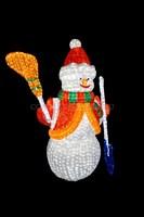 """""""Снеговик с лопатой и метлой"""". 3D акриловая светодиодная фигура."""