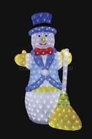 """""""Снеговик с метлой 100 см"""". 3D акриловая светодиодная фигура."""