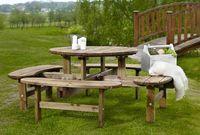 """""""Rondo"""". Стол для пикника, сосна, коричневый, диаметр стола 110 см, 8 посадочных мест."""
