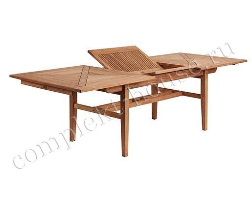 Стол из тика Altona, раздвижной, цвет натуральный, размер 190-265х100 см, высота 74 см.
