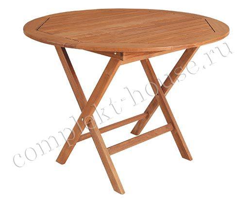 """""""Turin"""". Тиковый стол, раскладной, диаметр 100 см."""
