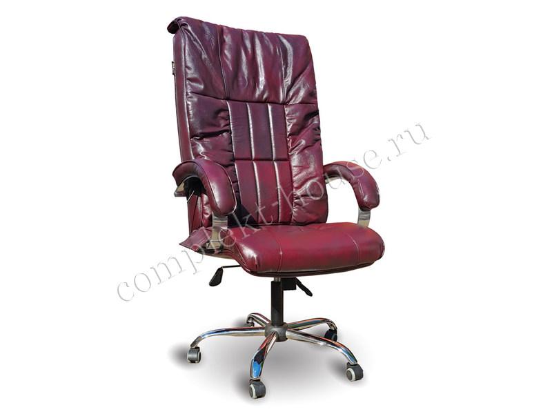 """BOSS EGO"". Массажное кресло, ELITE (натуральная кожа) Maroon."