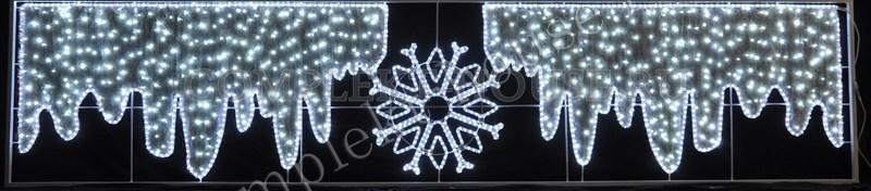 Световая фигура с дюралайтом Снежинка с сосульками