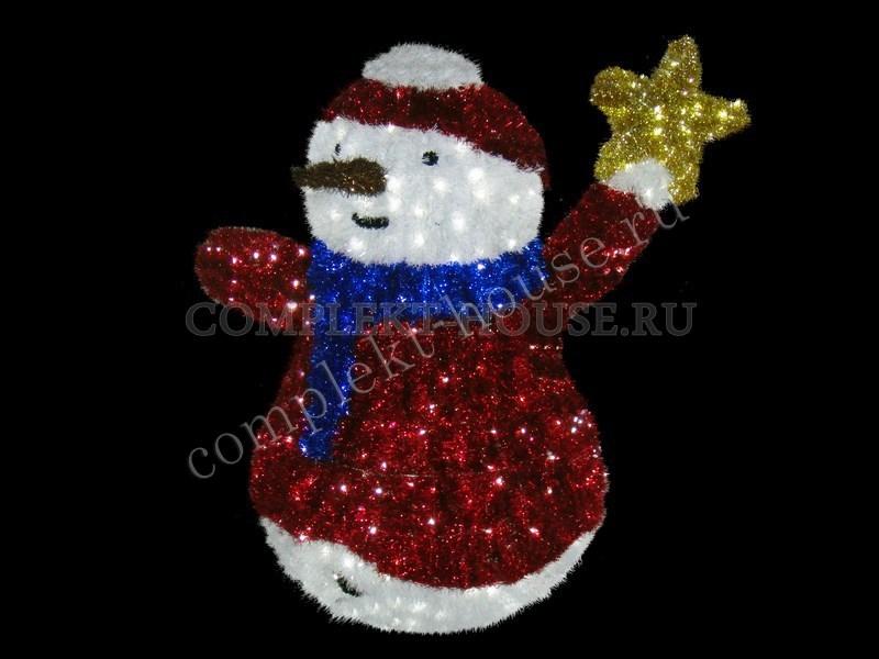 Световая фигура Снеговик со звездой