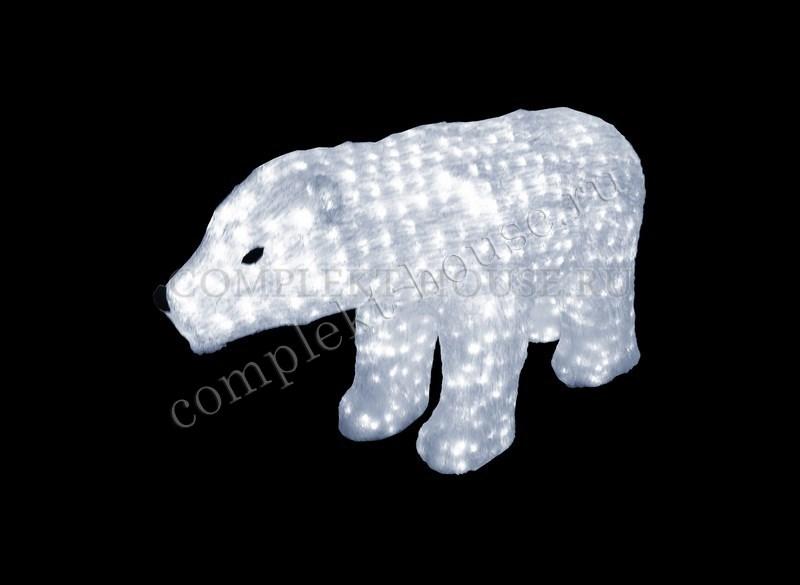 """""""Белый медведь"""".Высота 0,6м. 3D Акриловая светодиодная фигура."""