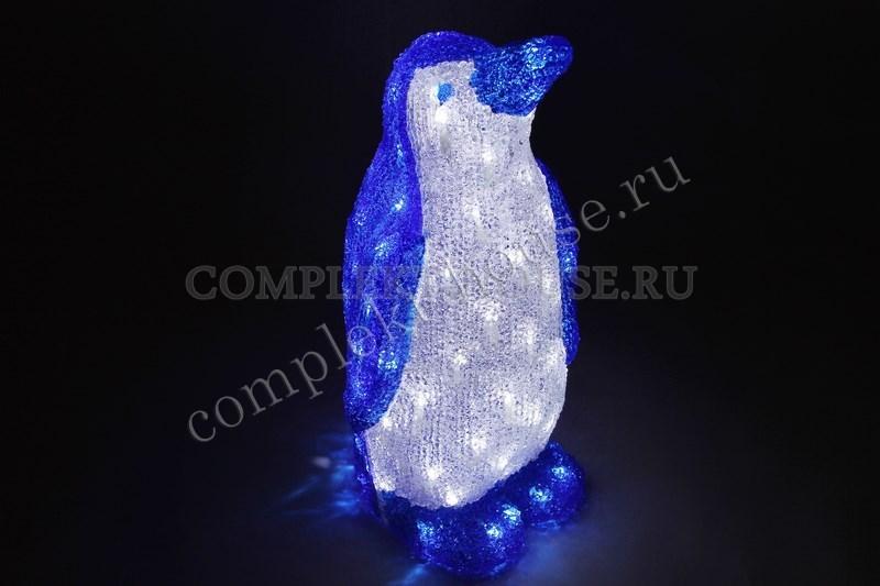 3D акриловая светодиодная фигура Пингвин бело-синий