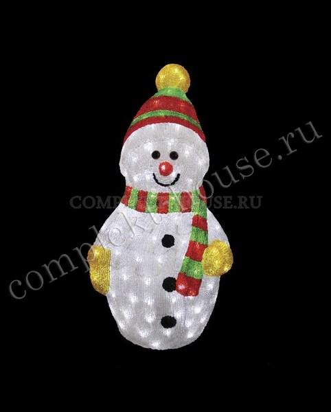 """""""Снеговик с шарфом 60 см"""". 3D акриловая светодиодная фигура."""