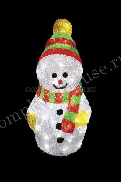 3D акриловая светодиодная фигура Снеговик с шарфом 30 см