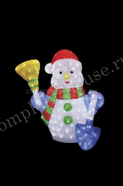"""""""Снеговик с метлой и лопатой 60 см"""". 3D акриловая светодиодная фигура."""