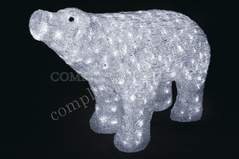 3D акриловая светодиодная фигура Белый медведь 80 см
