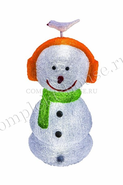 Акриловая светодиодная фигура 3D Снеговик в наушниках