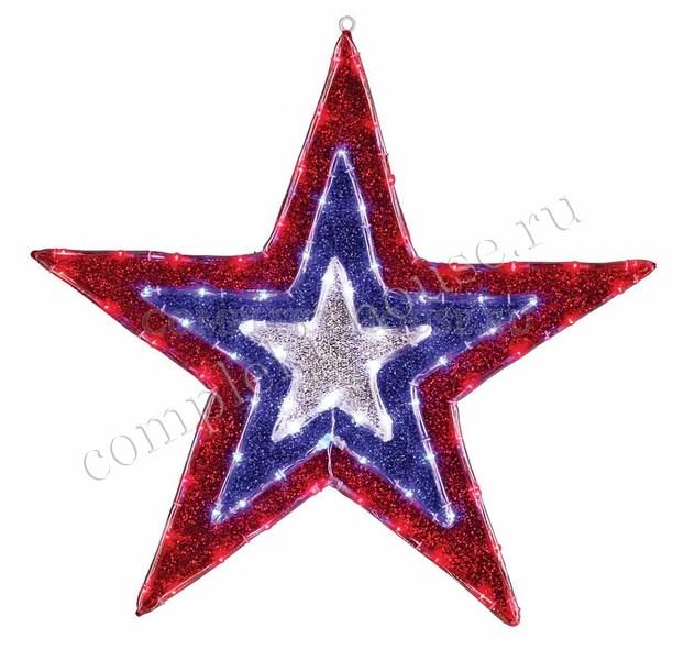 Светодиодная фигура с динамикой свечения Звезда бархатная 91 см