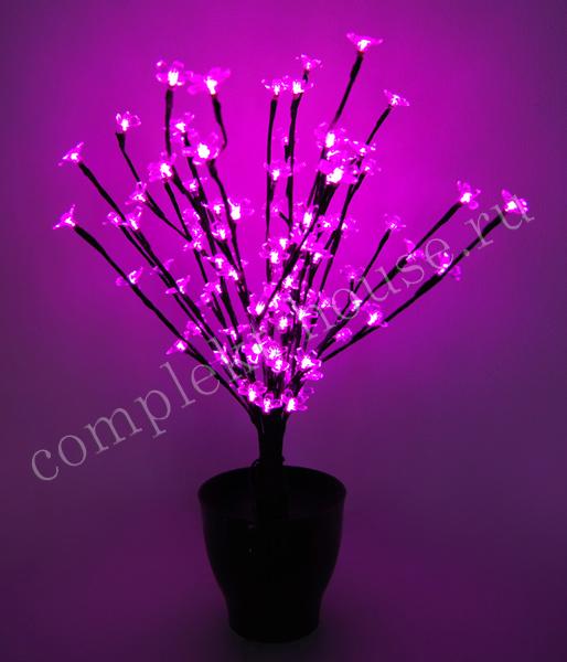 Дерево светодиодное Цветок в горшке 60 см Сакура 96 LED