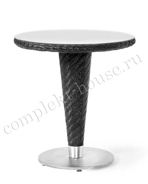 """""""Kornett"""". Стол для кафе, черный искусственный ротанг, диаметр 70 см."""