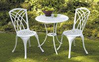 """Serenad"". Стул для кафе, литой алюминий, белый, комплект: 2 стула, стол."